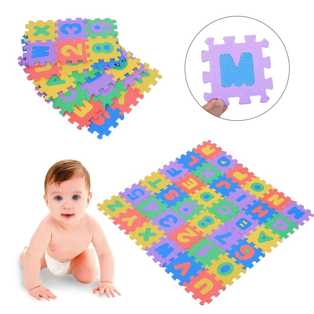 hurrise 36pcs doux tapis de jeux en mousse eva chiffres et lettres bebe enfants enfants jouant rampant pad jouets nouveaux mousse de tapis de jeu