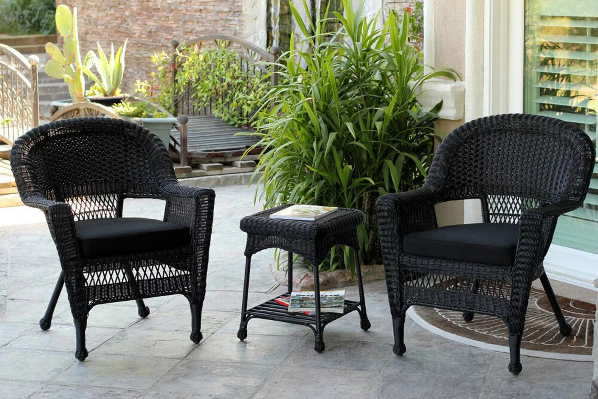 3 piece black resin wicker patio chairs and end table furniture set black cushions walmart com