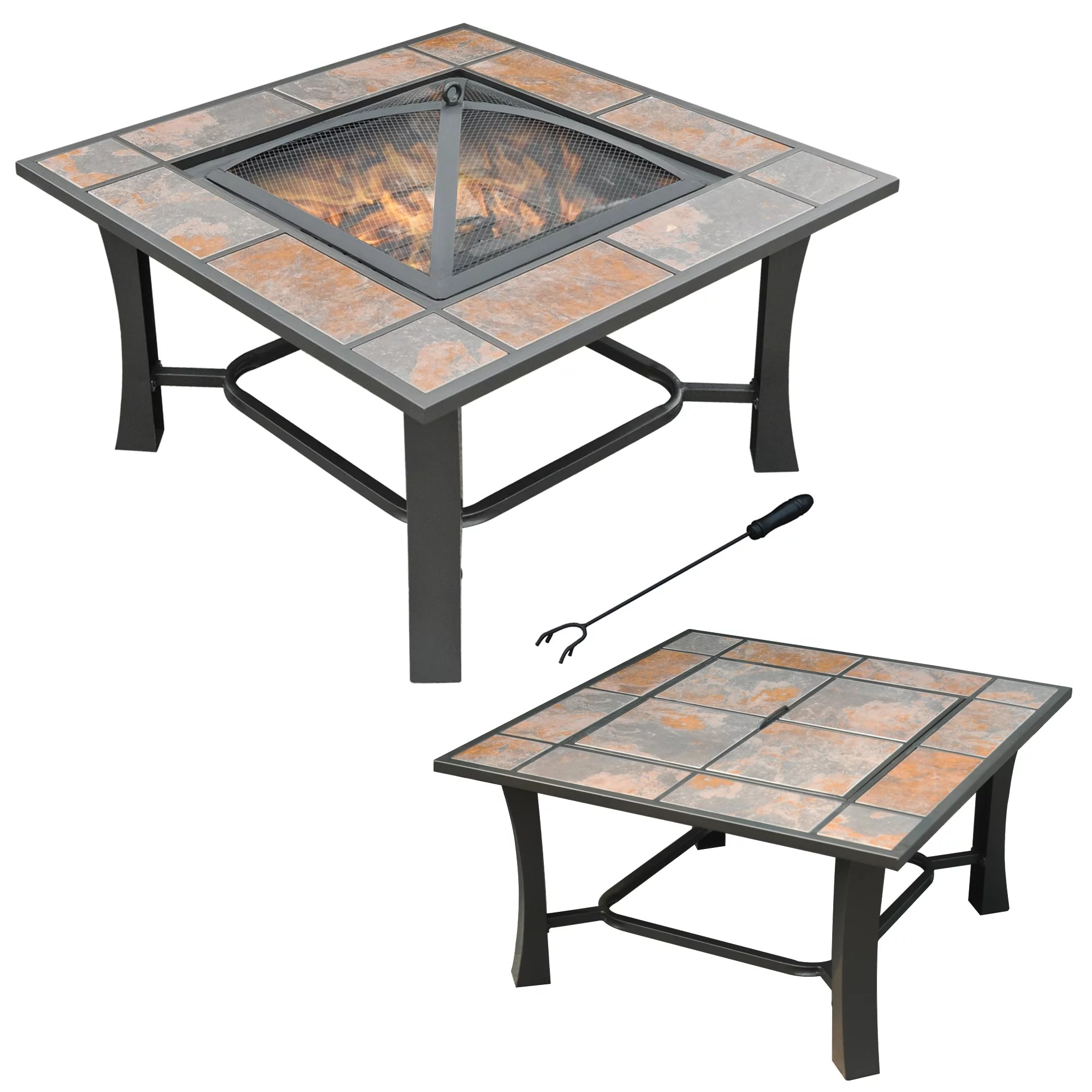 axxonn 32 2 in 1 malaga convertible square tile top fire pit coffee table wood burning fire bowl walmart com