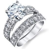 Sterling Silver Cubic Zirconia 3 Carat CTW Round Cut CZ ...
