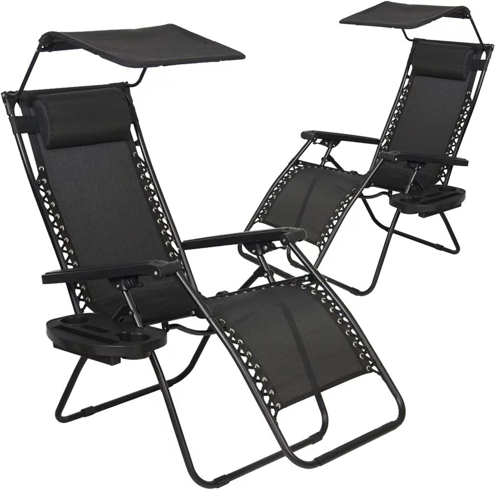 Foldable Patio Chairs 2 Pcs Zero Gravity Chair Lounge Patio Chairs With Canopy Cup Holder