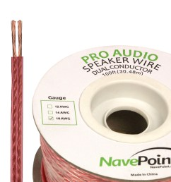 navepoint 100ft in wall audio speaker cable wire cl2 16 2 awg gauge 2 conductor bulk clear walmart com [ 1200 x 1200 Pixel ]