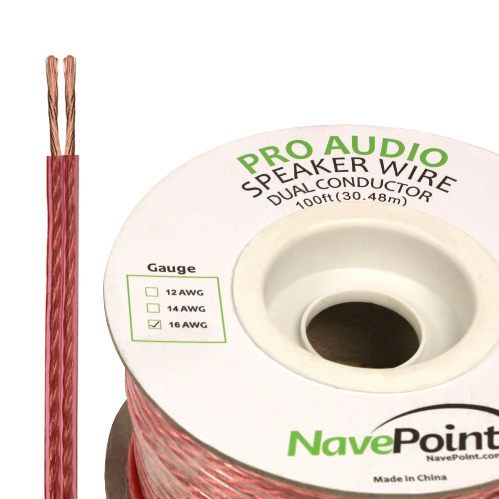 medium resolution of navepoint 100ft in wall audio speaker cable wire cl2 16 2 awg gauge 2 conductor bulk clear walmart com