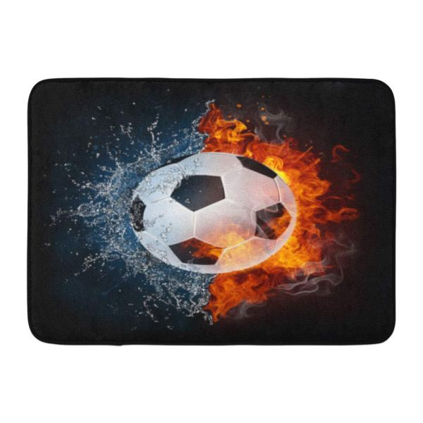 Godpok White Football Soccer Ball In Fire And Water Of