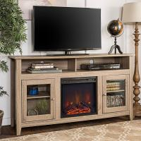WE Furniture 58-inch Driftwood Highboy Fireplace TV Stand ...
