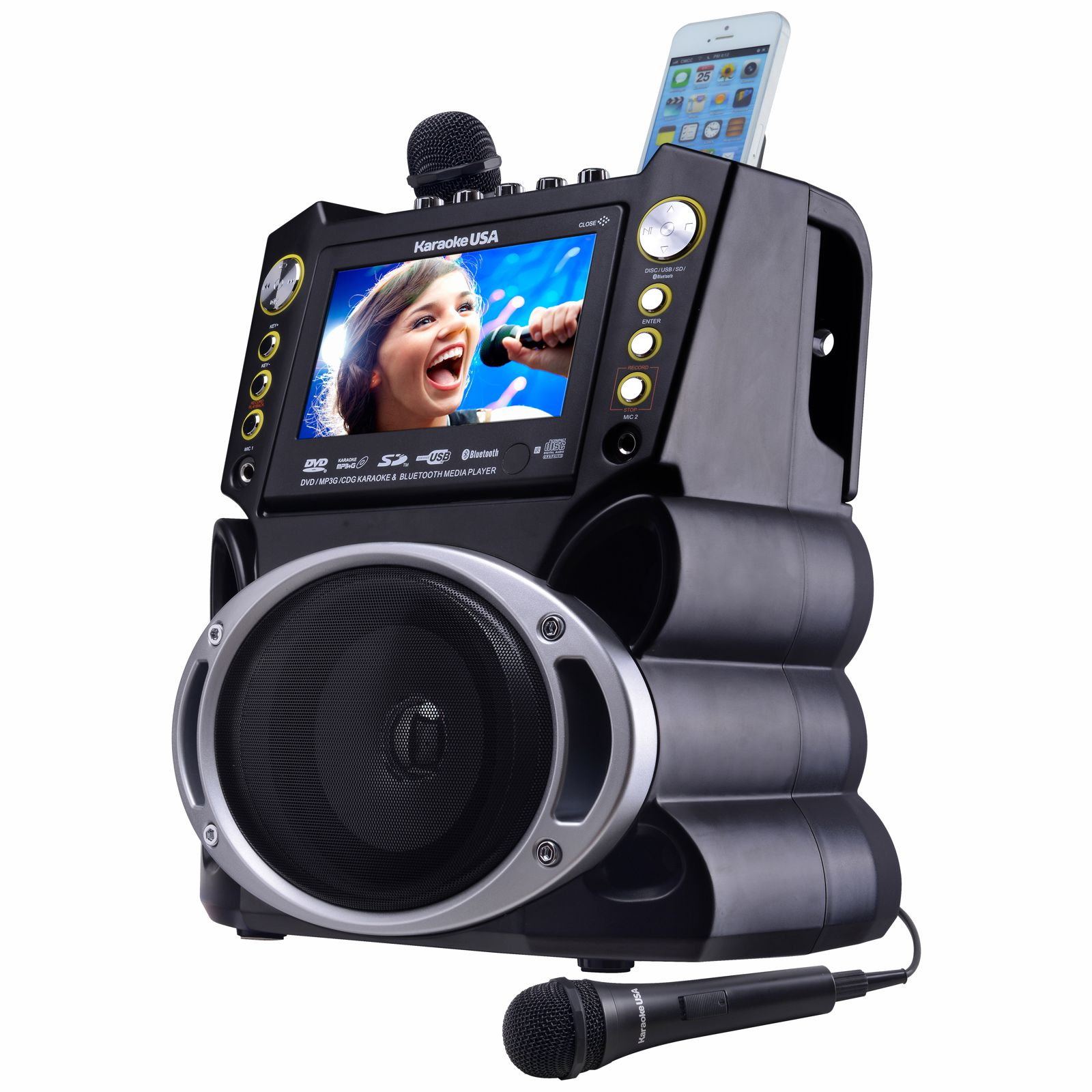 Karaoke DVD/CD+G/MP3+G Bluetooth Karaoke System with 7″ TFT Color Screen and Record Function