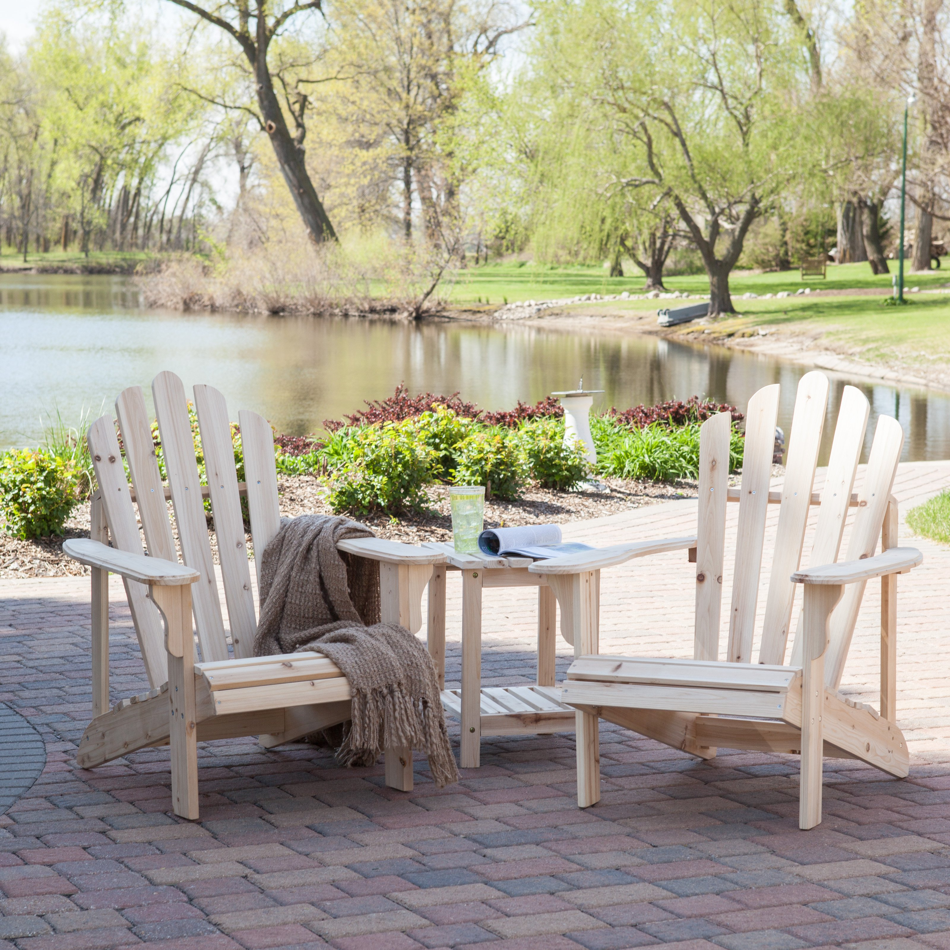 unfinished adirondack chair office caster coral coast hubbard 2 set with free side table walmart com