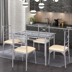 Kitchen Dining Chairs Mobile Rental Gymax Set 5 Piece Table Tempered Glass Room Furniture