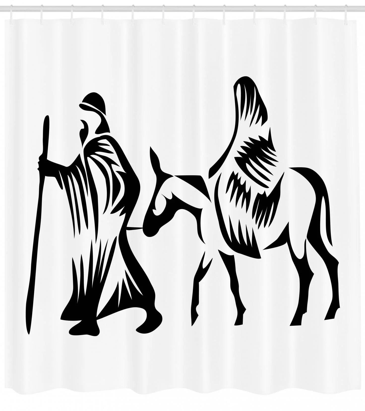 Religious Shower Curtain Silhouette Religious Figures