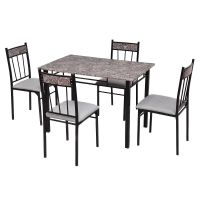 Costway 5 Piece Faux Marble Dining Set Table and 4 Chairs ...