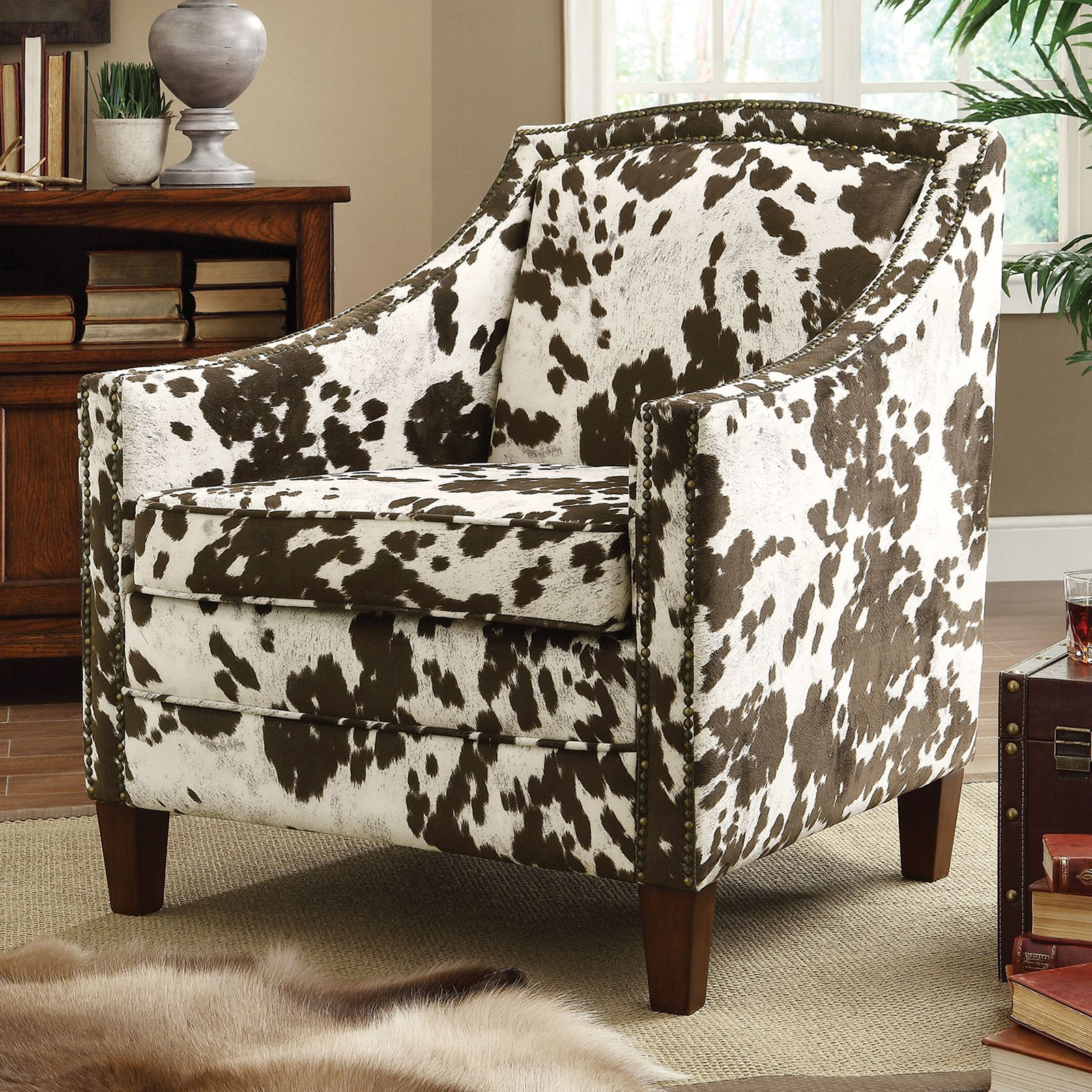 cowhide print accent chair wenger music chairs coaster cow pattern brown white walmart com