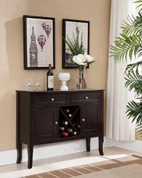 Kings Brand Walnut Finish Wood Wine Cabinet Breakfront ...