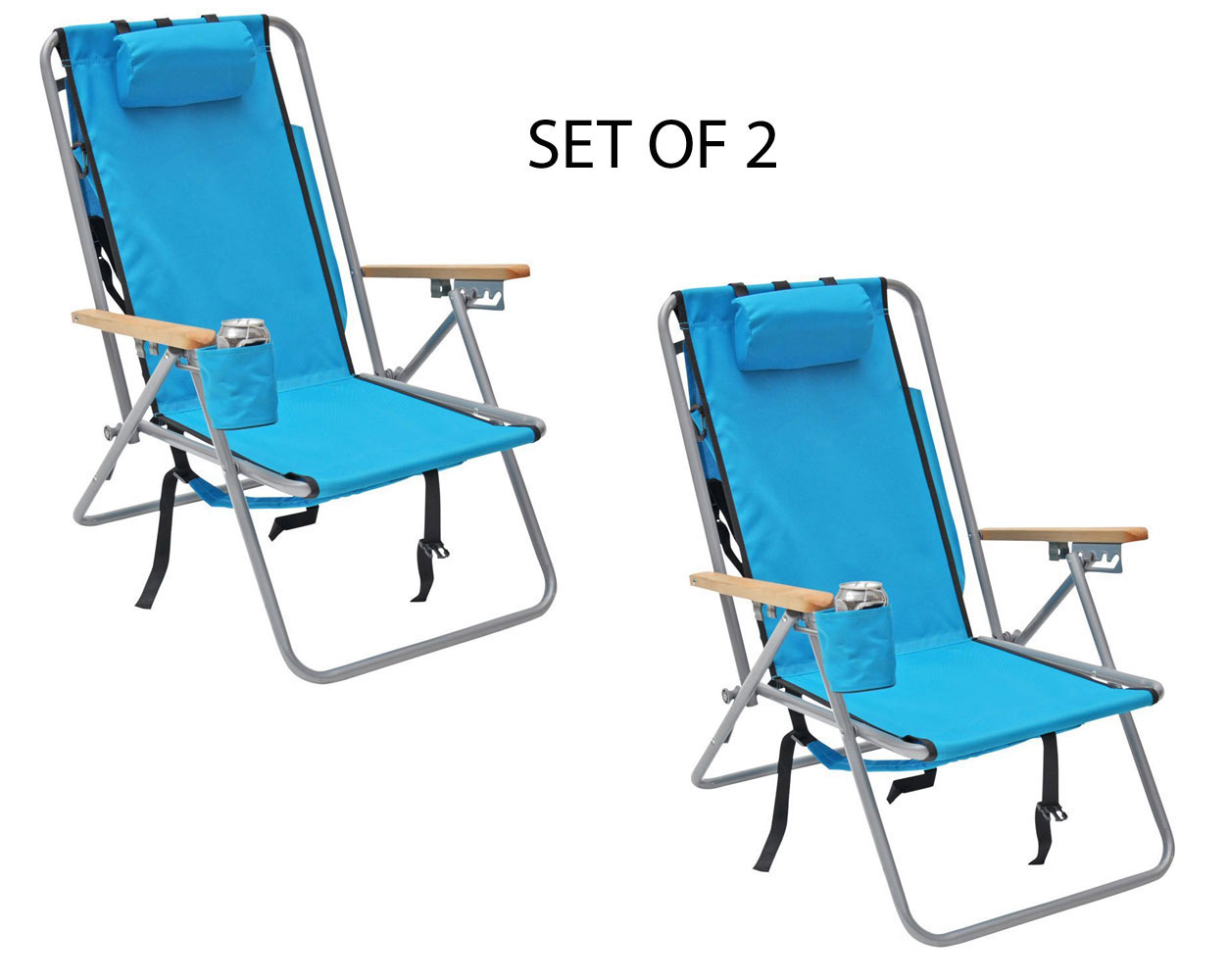 backpack chairs navy and white accent chair deluxe steel beach camping with storage pouch set of 2 walmart com
