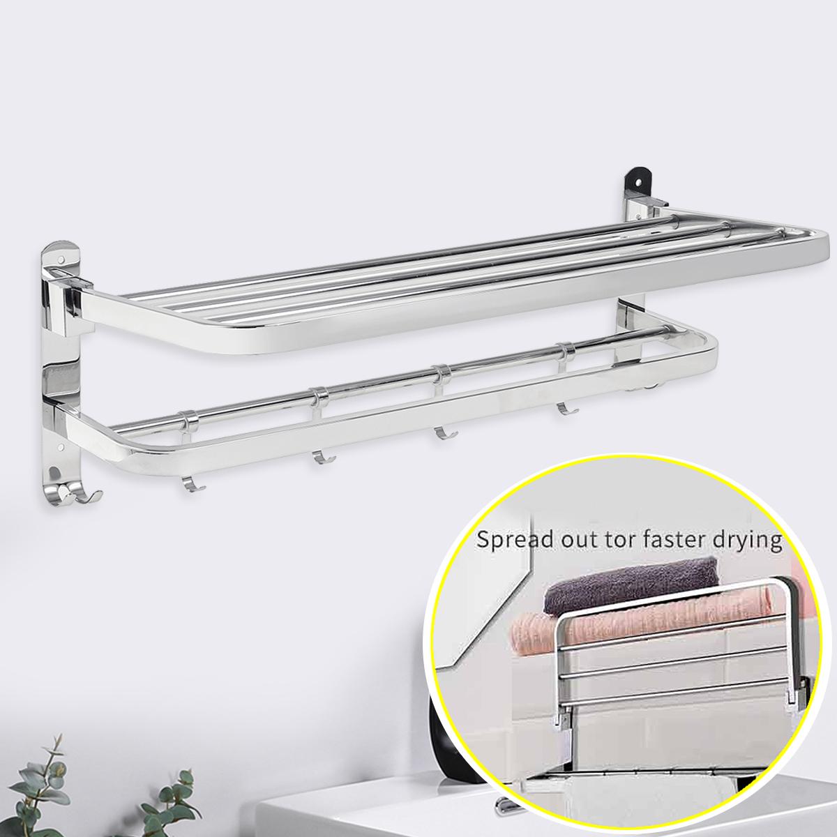 stainless steel double towel bar bathroom wall shelves towel holders bath towel rack heavy duty wall mount coat hanging rack