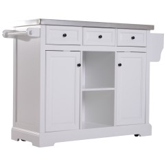 White Kitchen Island Cart Surplus Appliances Homcom 51 L Wood Stainless Steel Portable Rolling With Wheels