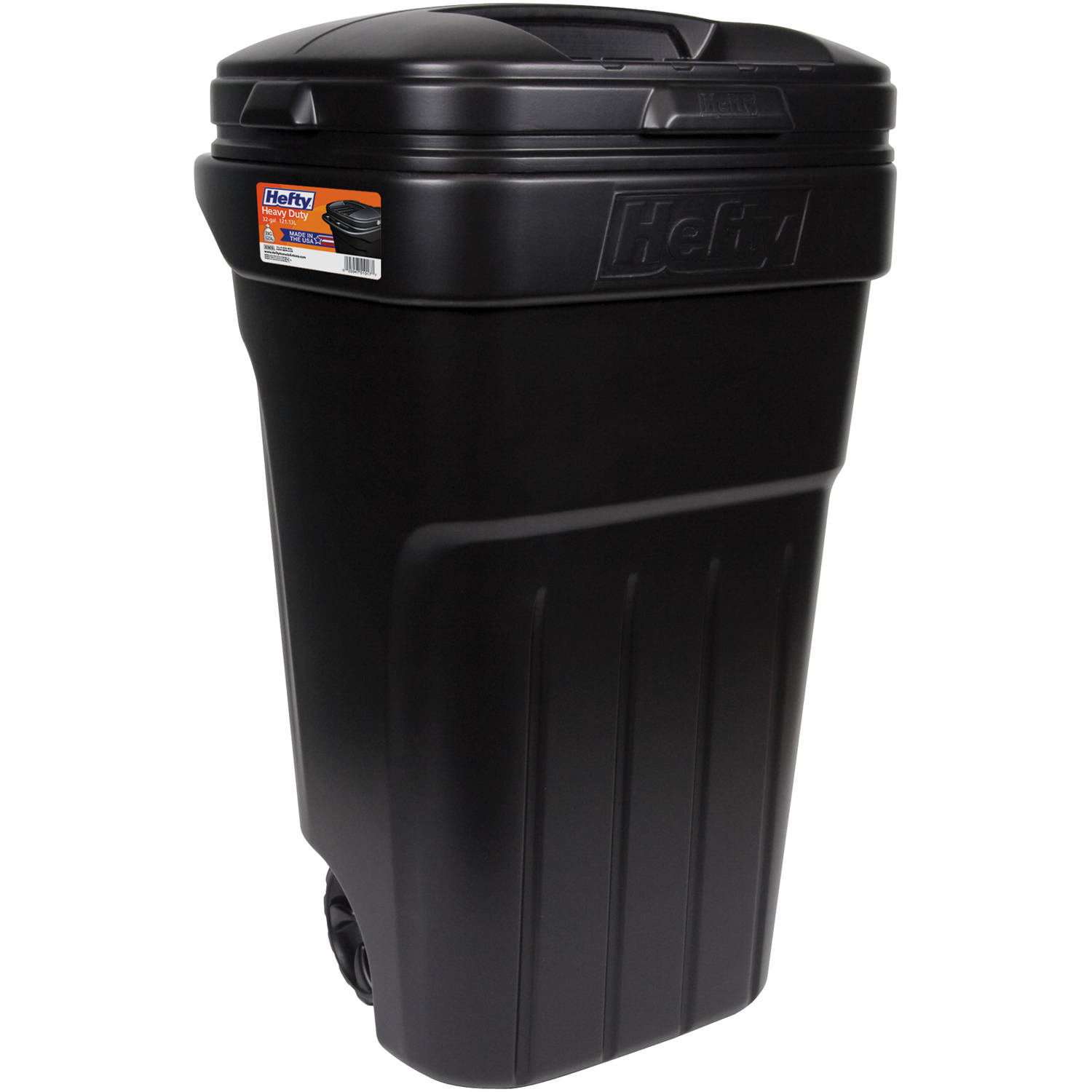 Hefty 32Gallon Wheeled Outdoor Trash Can Black Walmartcom