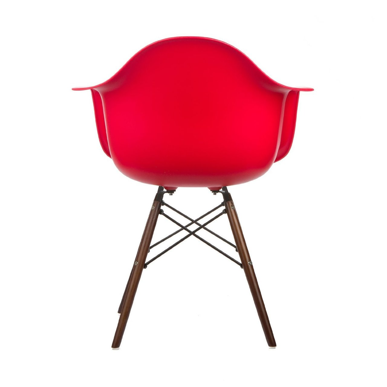 red lounge chair damask banquet covers modern style armchair with walnut wood legs eiffel dining room arm arms chairs seats wooden leg wire dowel