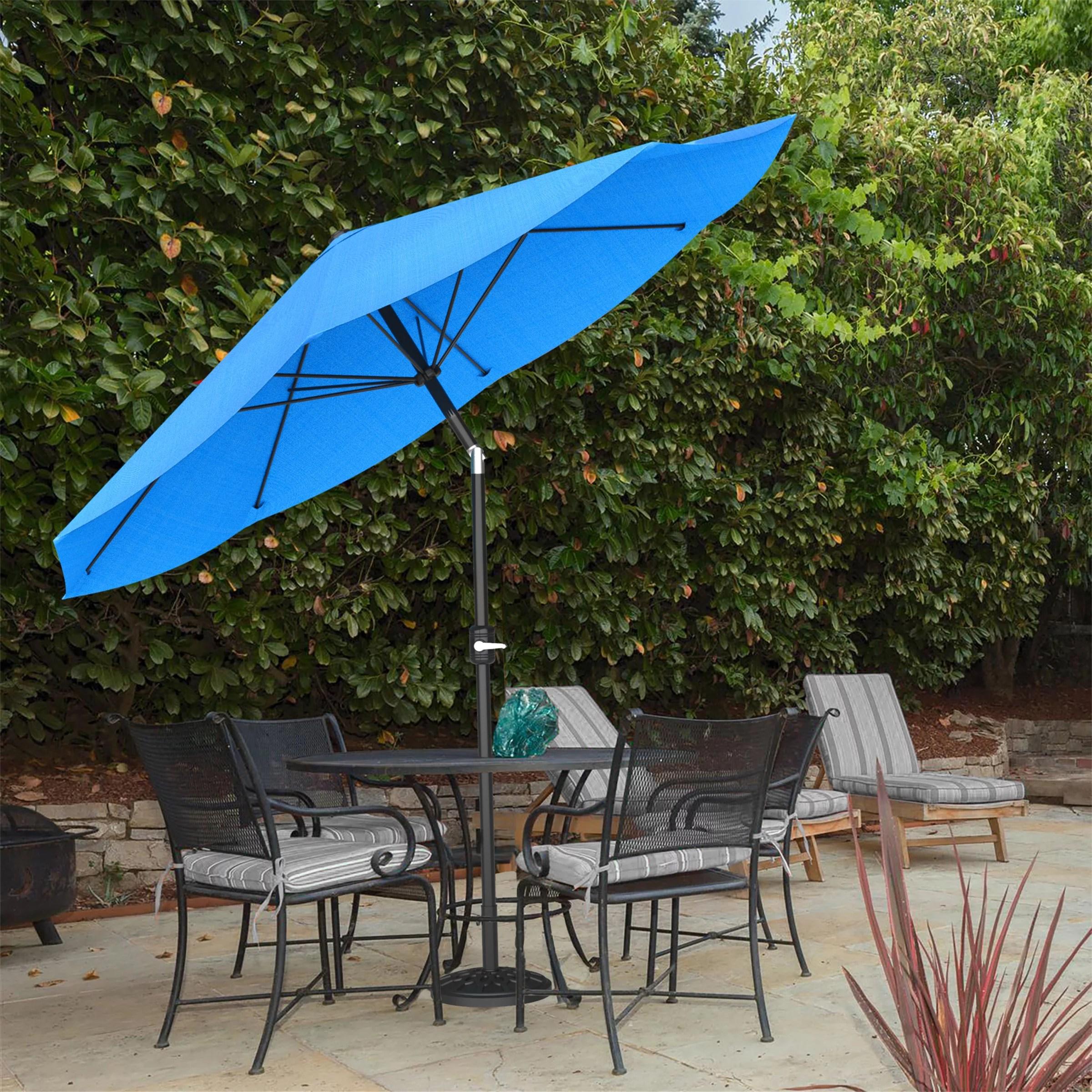 pure garden auto tilt patio umbrella 10 ft aluminum easy crank brilliant blue
