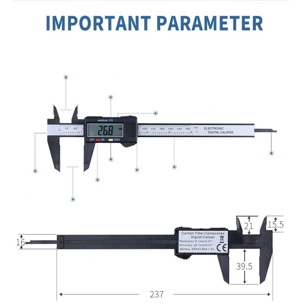 hight resolution of huppin s 150mm 6inch lcd digital electronic carbon fiber vernier caliper gauge micrometer walmart com
