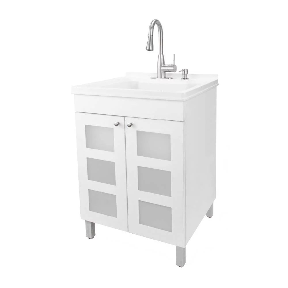 tehila white utility sink vanity with stainless finish pull down faucet walmart com