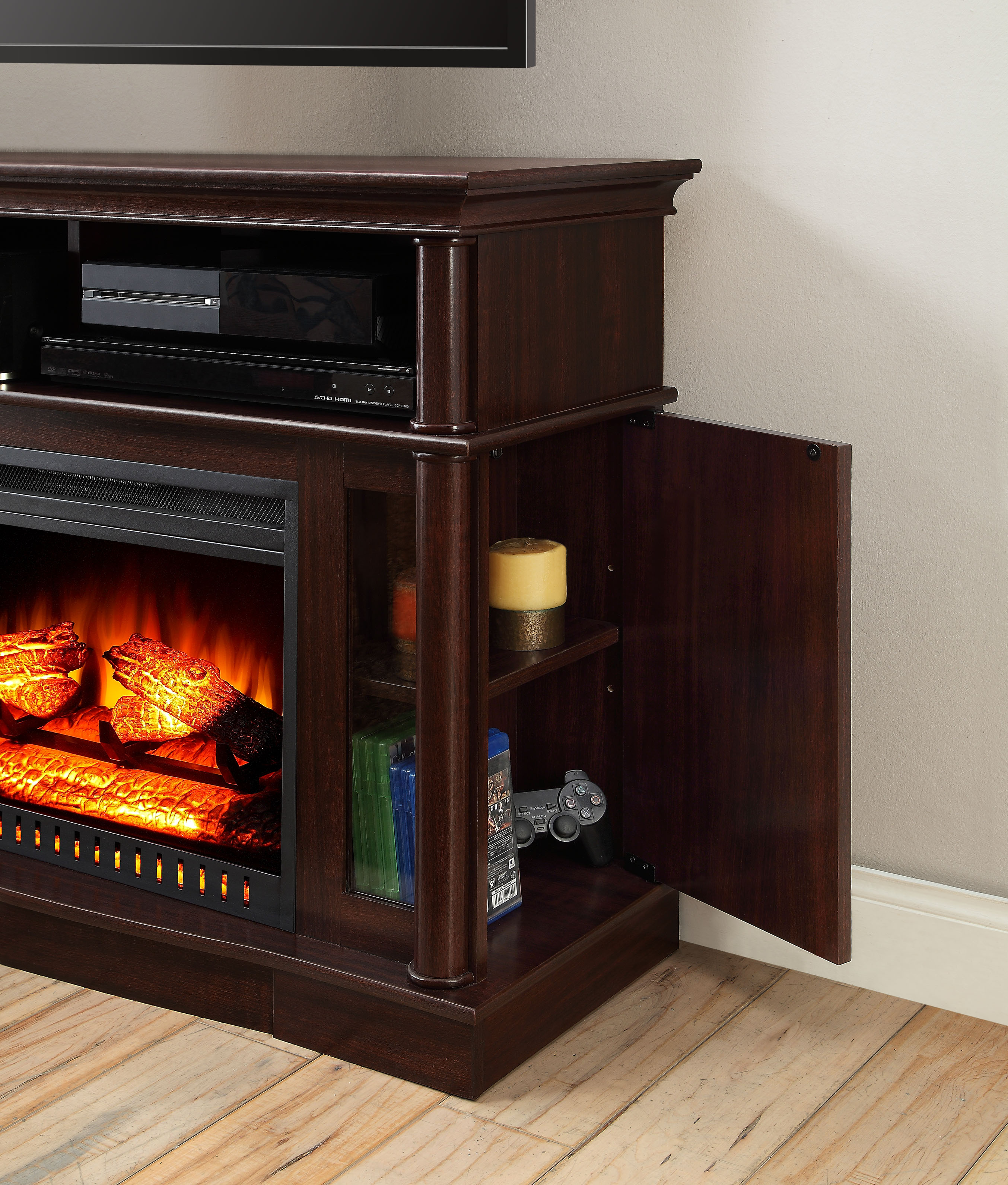 Electric Fireplace TV Stand Media Console Heater Entertainment Center Wood New  eBay