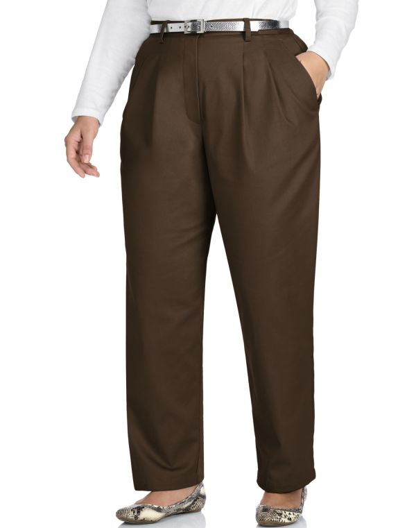 Size - Women Pleat Front Twill Pants Tall S1083t 28w Brown