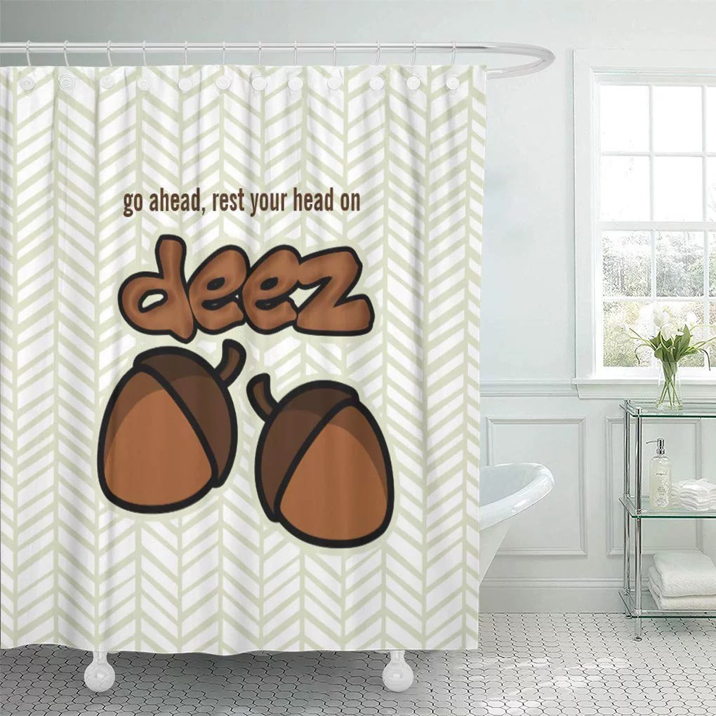 Cynlon Funny Rest Your On Deez Nuts Sayings Humor Jokes Bathroom Decor Bath Shower Curtain 60x72 Inch Walmart Com Walmart Com