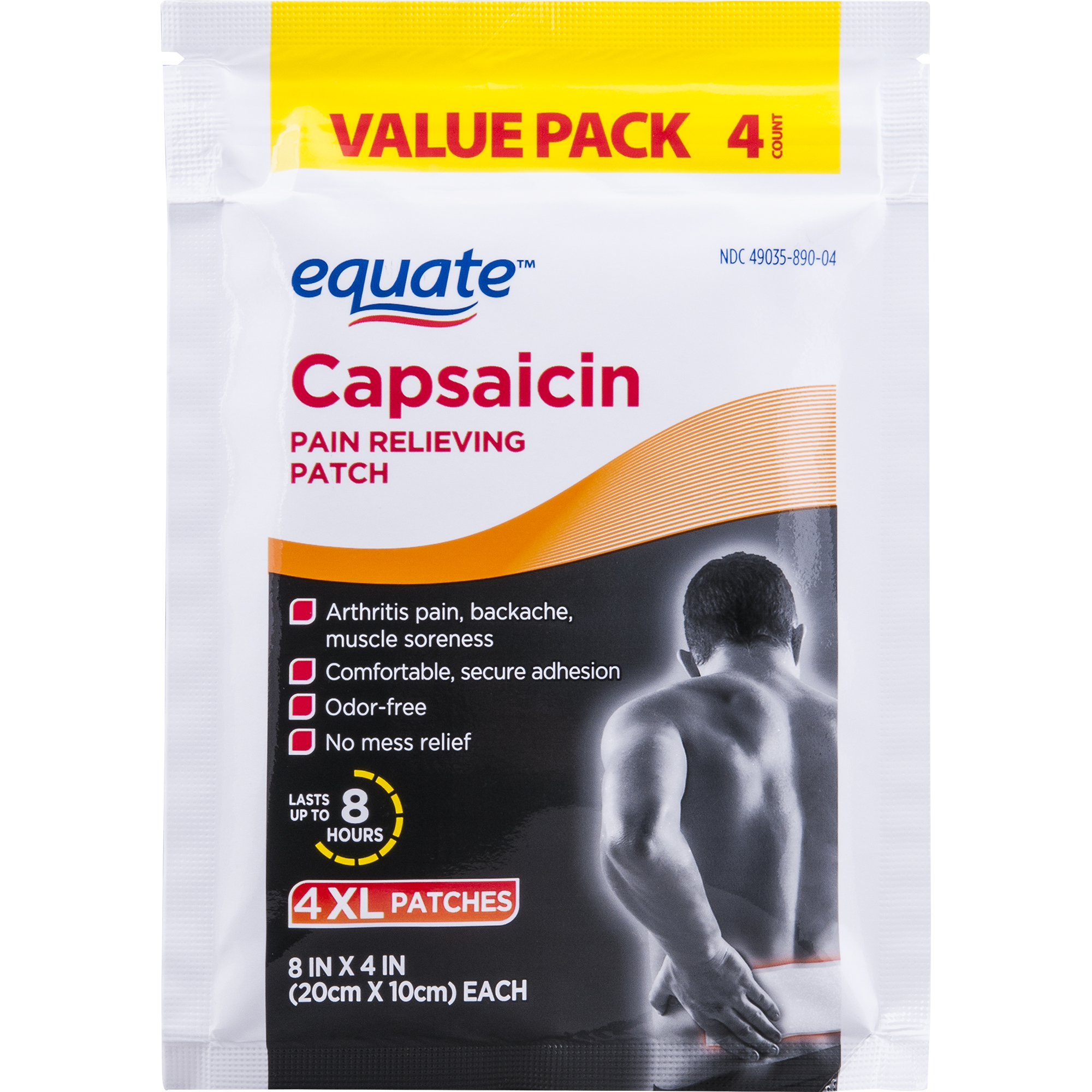Equate Capsaicin Pain Relieving Patch Value Pack XL 4 ...