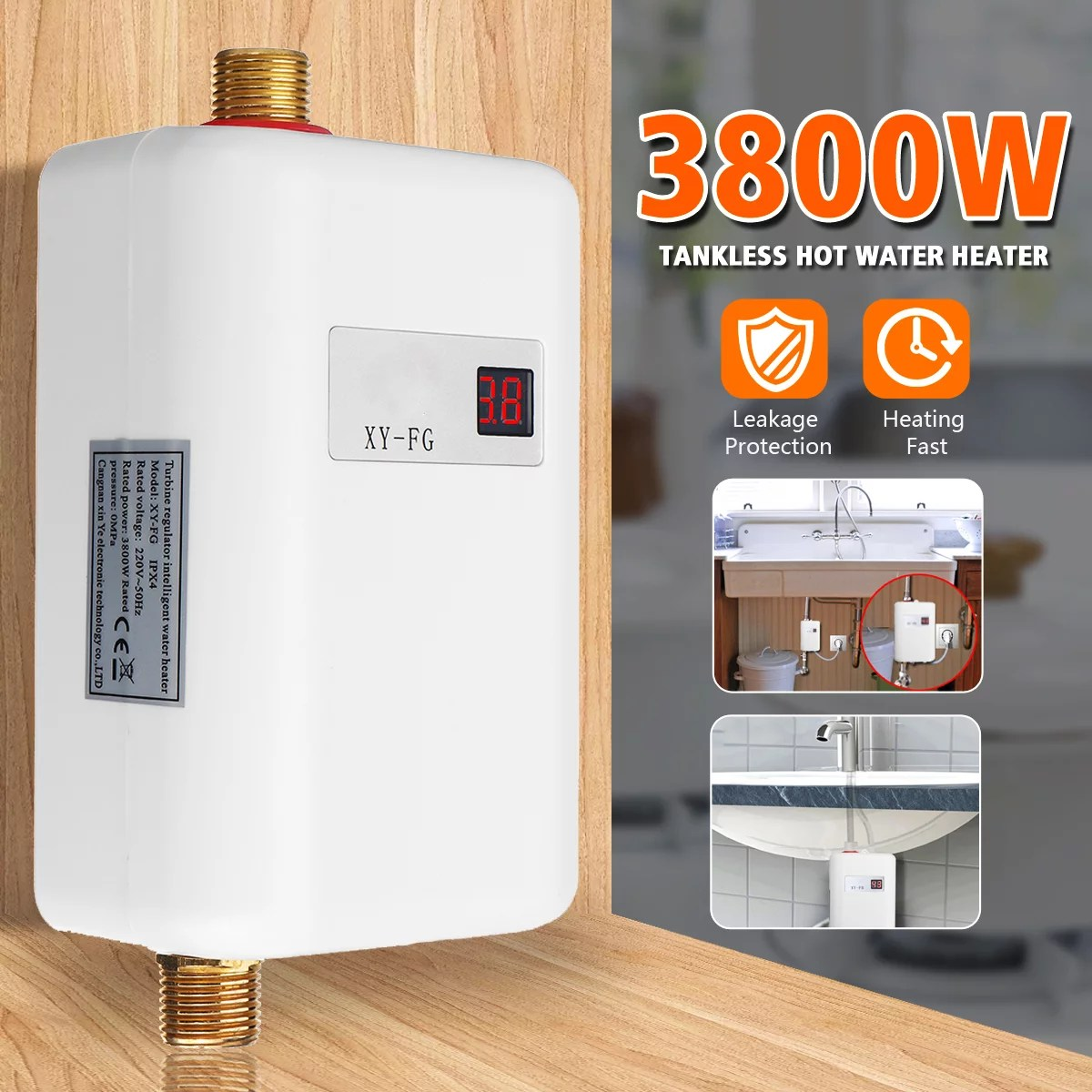 Mini Tankless Instant Hot Water Heater Bathroom Faucet Tap Heating 3800w Walmart Com Walmart Com