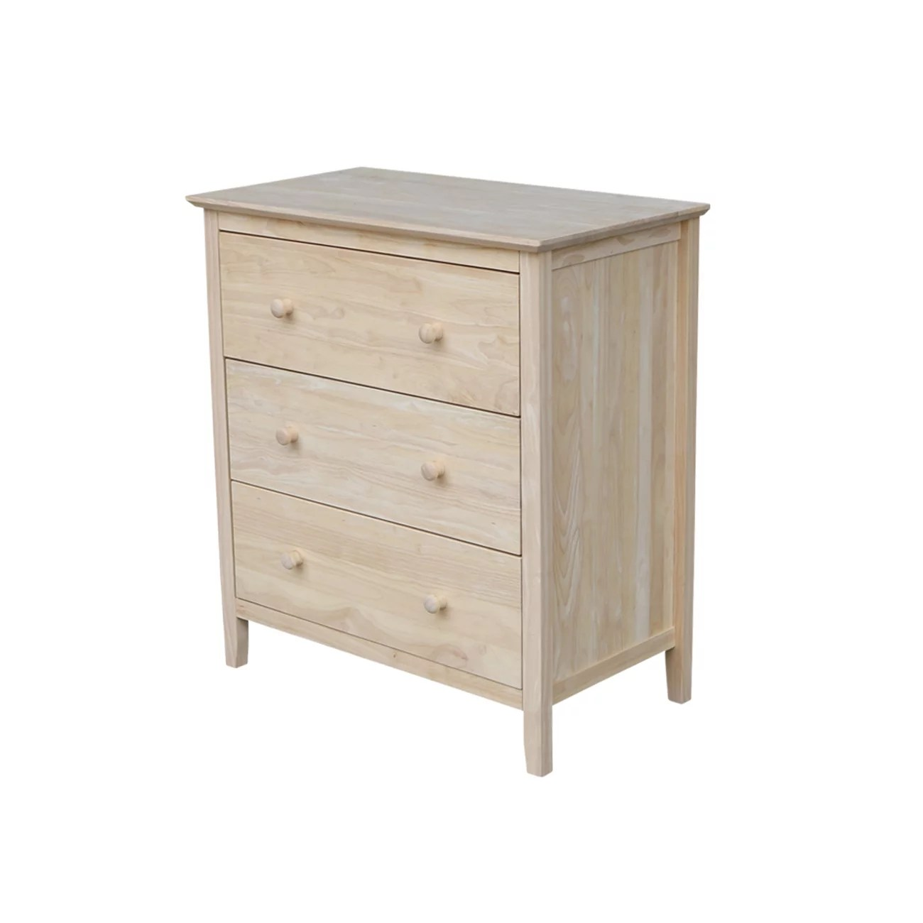 international concepts stone river traditional 3 drawer chest unfinished