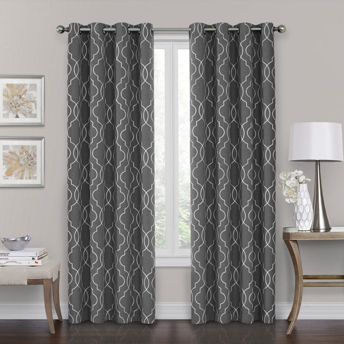 brent grommet 100 blackout 84 inch window curtain panel in charcoal