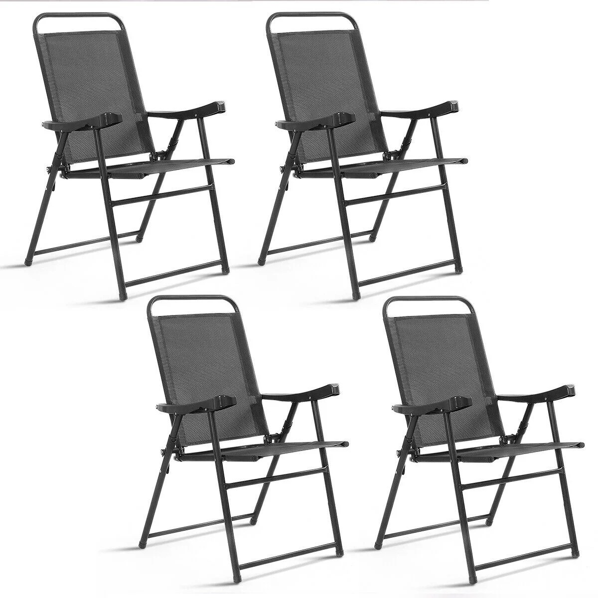 Beach Folding Chairs Costway Set Of 4 Folding Sling Chairs Patio Furniture Camping Pool Beach With Armrest