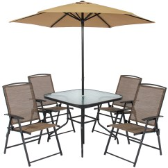 Umbrella Chair Walmart Vintage Belmont Barber Chairs For Sale Best Choice Products 6 Piece Outdoor Folding Patio Dining Set W Table 4 And Built In Base Tan Com