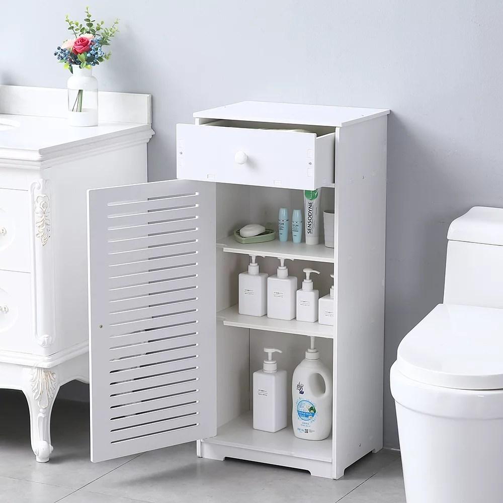 Bathroom Floor Storage Cabinet Bathroom Organizer Upgraded Pvc Bathroom Storage With A Drawer 3 Compartments Waterproof Floor Cabinet For Bathroom Kitchen Living Room 16 X 12 X 35 5 Q3889 Walmart Com