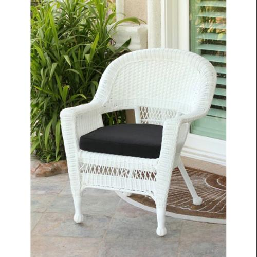 all weather garden chairs rocking chair covers walmart 36 white resin wicker outdoor patio with black cushion com