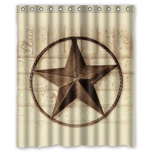 greendecor western texas star waterproof shower curtain set with hooks bathroom accessories size 60x72 inches