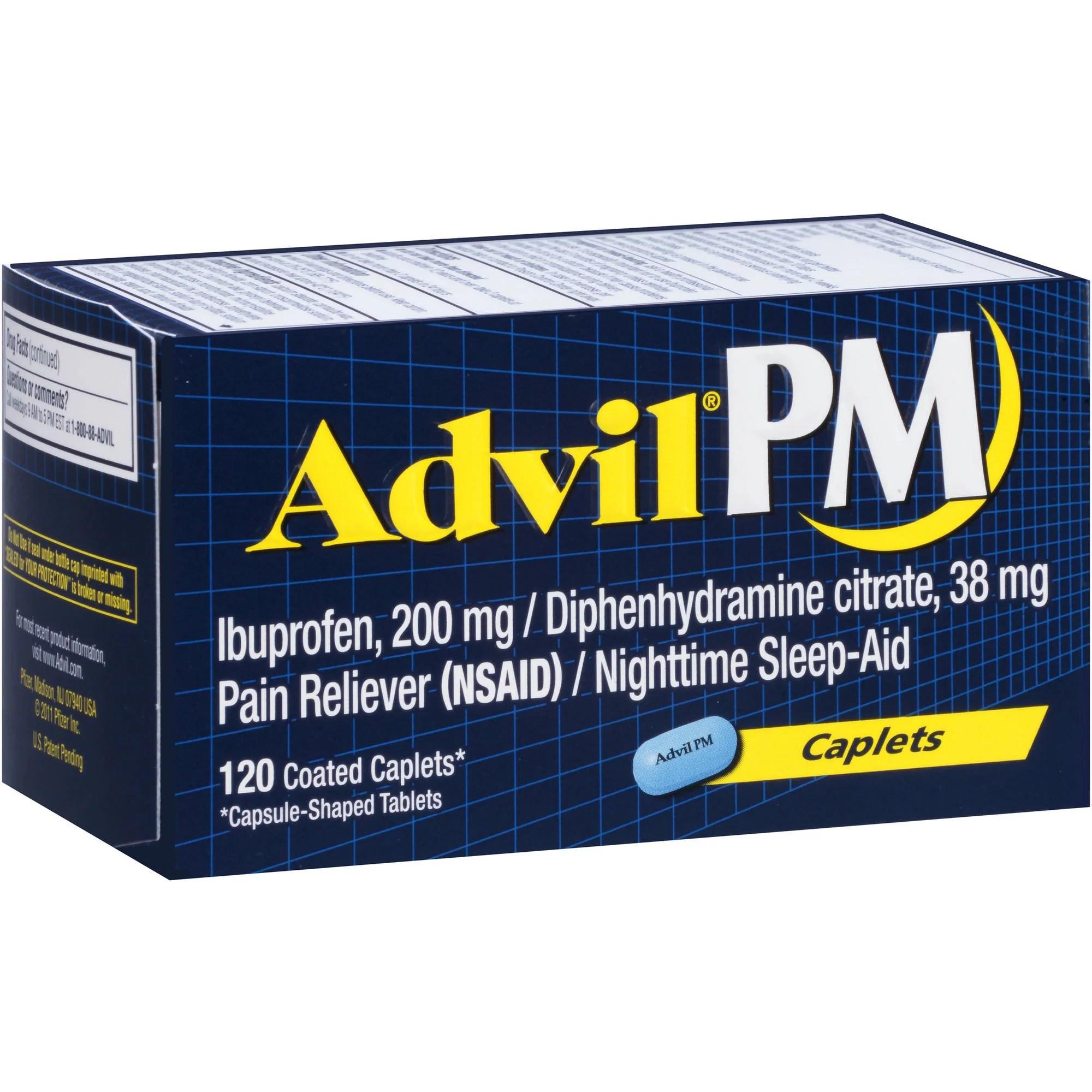 Advil PM Pain Reliever / Nighttime Sleep Aid (Ibuprofen ...
