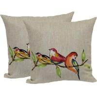 Mainstays Painted Birds Toss Pillow, 2-Pack - Walmart.com