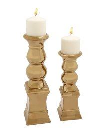 Fancy Ceramic Gold Candle Holder Set Of 2