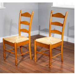 Ladder Back Chair Shell Side Rush Seat Chairs Set Of 2 Multiple Colors Walmart Com