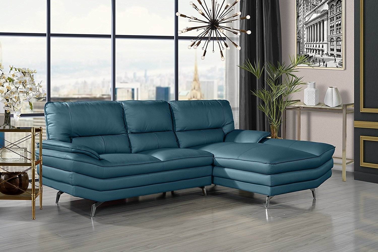 living room leather sectional sofa l shape couch with chaise lounge teal walmart com