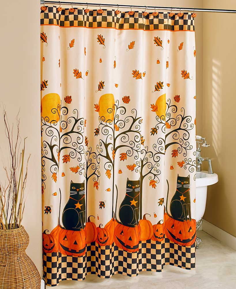 the lakeside collection black cat halloween shower curtain