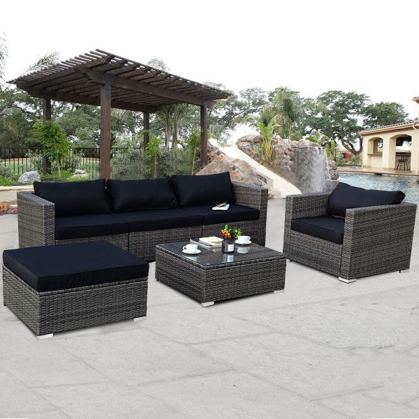 Costway 6-piece Rattan Wicker Patio Furniture Set Sectional Sofa Couch Yard With Black Cushion