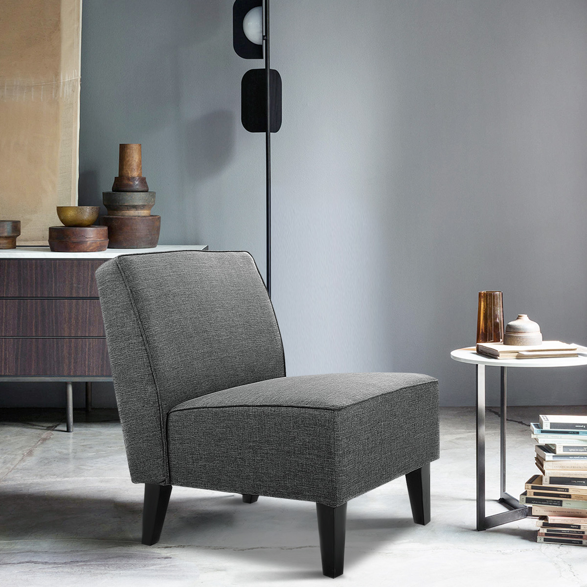 Accent Chair Living Room Accent Chair Armless Contemporary Dining Chair Living Room Furniture Gray