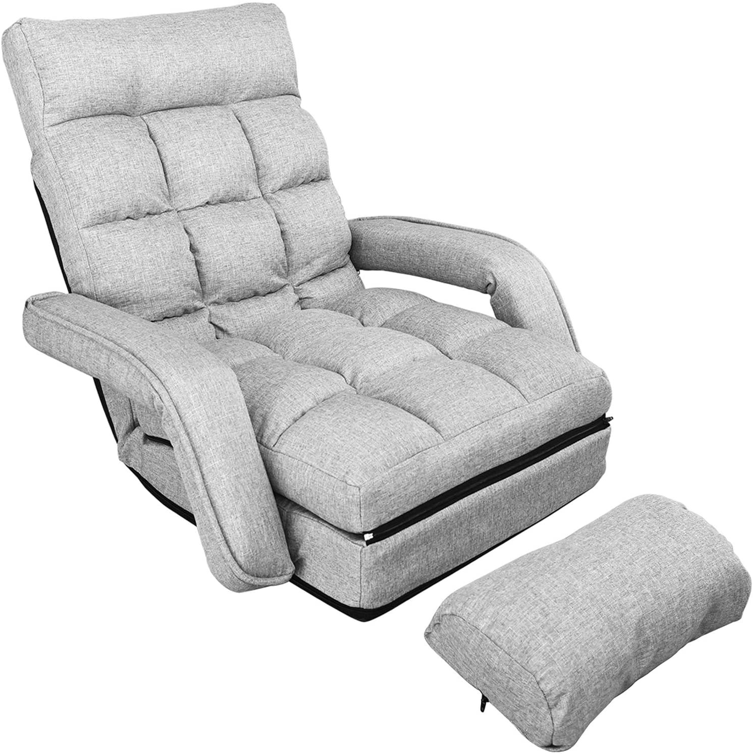 waytrim indoor chaise lounge sofa folding lazy sofa floor chair 6 position folding padded lounger bed with armrests and a pillow chaise couch gray