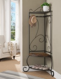 Pewter Metal Corner Entryway Hallway Storage Bench Hall