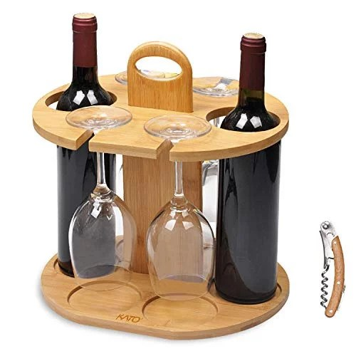 kato wine 2 bottle holder 4 glass rack wine glass hanging drying stand organizer on countertop tabletop with free corkscrew bamboo