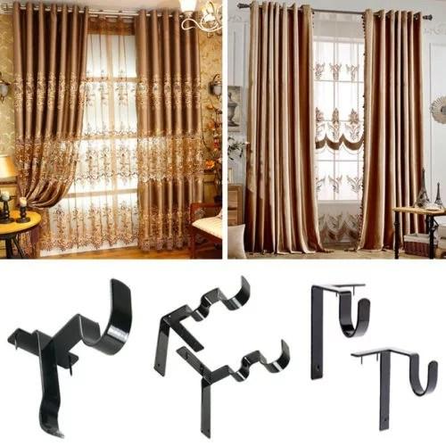 hang double center support curtain rod bracket window frame bracket