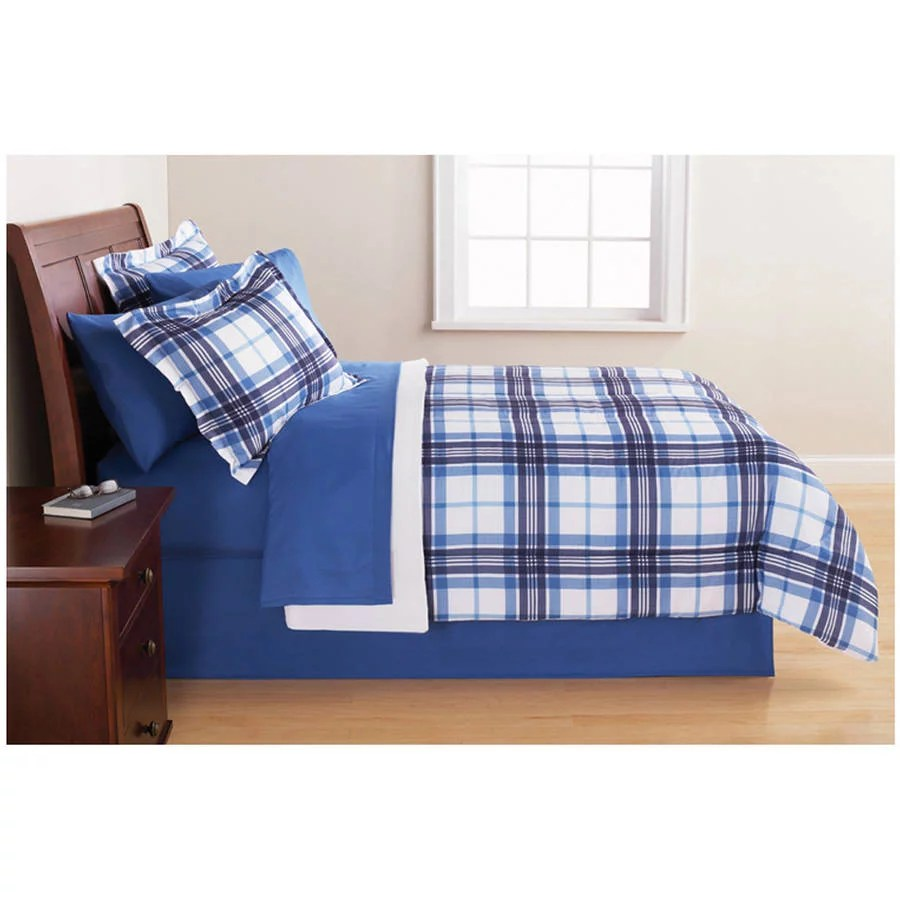 Mainstays Blue Plaid Bed in a Bag Bedding Set