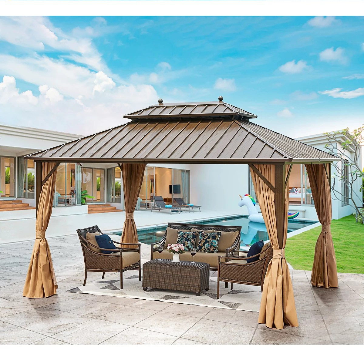 erommy 10 x 13 hardtop gazebo galvanized steel outdoor gazebo canopy double vented roof pergolas aluminum frame with netting and curtains for